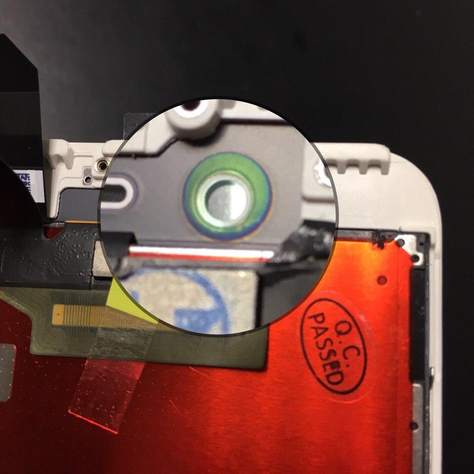 радужный ободок в области датчика света на оригинальном дисплее iPhone 6s plus